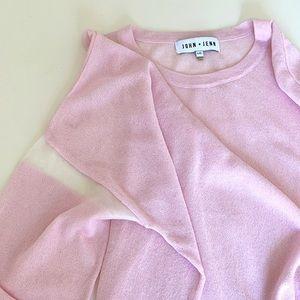 John + Jenn pink knit sweater with sheer inserts